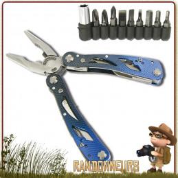 Pince Multi Fonctions CONDOR Highlander avec 11 outils, dont lame de 6 cm et une boite de 9 embouts de tournevis