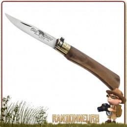 Couteau trekking pliant Old Bear manche 11 cm bois noyer traité huile  lame acier AISI 420 satiné 8 cm avec virole sécurité