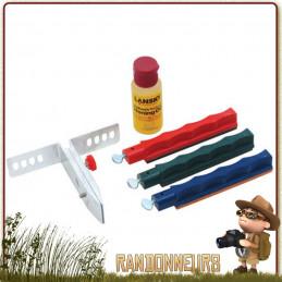 Kit d'affutage complet lansky pour couteaux bushcraft, survie et militaire. composé de trois grains de pierre d'affutage