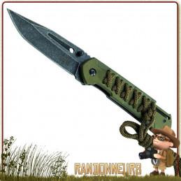 couteau pliant de survie lame 8.5 cm acier 420 satiné à cran intérieur et flipper pour ouverture rapide puma tec