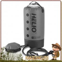 Douche portable compacte et légère, la douche Helio Pressure Nemo de volume 11 Litres est pressurisable par pompe à pied