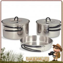 Set cuisine et popote de camping familiale en inox de 5 pièces. Set popote familiale inox Tatonka pour bivouac bushcraft nature