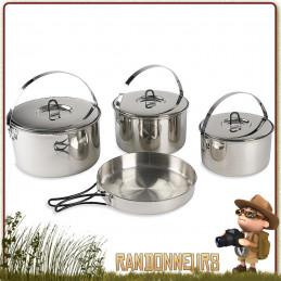 Set cuisine et popote de camping familiale en inox de 7 pièces. Set popote familiale inox Tatonka bushcraft nature