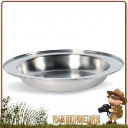 Assiette à soupe acier inoxydable 18/8 Tatonka de diamètre 24 cm. Durable assiette de camping et camp bushcraft