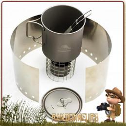 combo réchaud Titane Toaks Titanium Ultra Light est une popote complète avec réchaud alcool ultra léger de randonnée