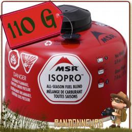 Cartouche de Gaz IsoPro 110g msr valve Lindal filetage 80% isobutane et 20% propane pour réchaud pocket rocket msr