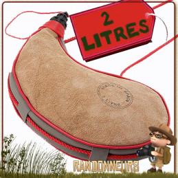 gourde en peau espagnole 2 litres, véritable gourde randonnée en peau de bête catalane du pays basque