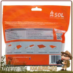 kit abri d'urgence SOL survive outdoors longer pour randonneurs avec bâche tarp abri, piquets et cordages