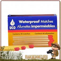 uco gear allumettes imperméables et étanches de survie et bushcraft. La boite d'allumettes est également imperméable