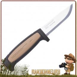 Couteau Mora Rope, lame acier inox 9 cm dentée tranchante avec manche gomme anti dérapant