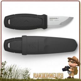 Kit Survie Poignard Mora ELDRIS Noir - Le Poignard Mora ELDRIS Noir, couteau tour de cou lame inox 5.6 cm plate semelle