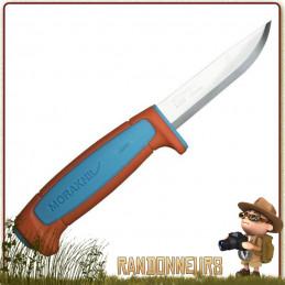 Couteau Bushcraft Nature et Pêche MORA BASIC 546 Orange, spécialement conçue pour le bushcraft, la survie