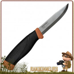 Couteau bushcraft Mora HD Burnt Orange Lame en acier inoxydable 10.5 cm, manche gomme noir extra large