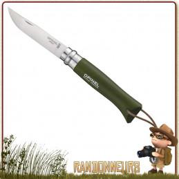 Couteau fermant Opinel 8 VRI baroudeur manche en bois de hêtre peint vert kaki de 11 cm
