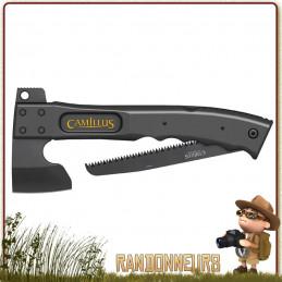 Hache Camtrax Camillus acier inoxydable revêtement titane, lame 7 cm noir manche 30 cm en fibre de verre
