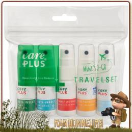 travel set Care Plus 5 lotions de 15ml répulsifs contre les insectes et tiques, un spray apaisant après piqure