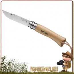 Couteau fermant Opinel Baroudeur 7 VRI manche en bois de hêtre vernis de 10 cm. Lame acier inox sandvik 12C27