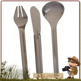 couverts de camping Inox KFS deluxe  (couteau, cuiller, fourchette). Pratique, ce set de couverts inox de grande longueur