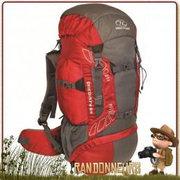 Sac à Dos DISCOVERY 65 Litres ROUGE Highlander de grande randonnée confortable avec dorsal réglable