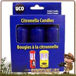 Pack Trois Bougies de rechange Citronnelle UCO éclairage pendant 9 heures longue durée et répulsif moustiques
