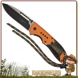 Couteau pliant de survie lame à trou 9.5 cm noire acier 420 à cran intérieur et bouton double manche abs paracorde nylon