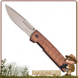 Couteau Bushcraft pliant avec manche bois Palissandre lame acier 420 de 9.5 cm robuste et épaisse