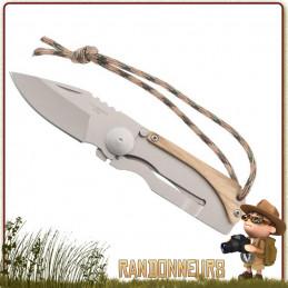 Couteau pliant de survie entièrement en acier inox, lame 4.5 cm acier 420 poli à cran intérieur. Manche squelette 6 cm