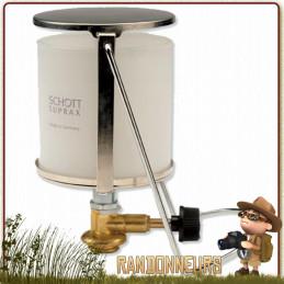 Lanterne de camping gaz avec verre frotté légère Highlander éclairage 360 degrés, compatible cartouches EN417